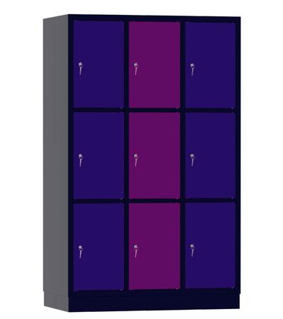 00141926 Szafa skrytkowa, 3 segmenty, 9 skrytek (wymiary: 1950x1200x480 mm)