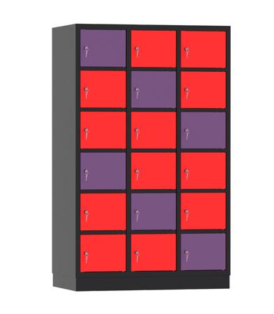 00141929 Szafa skrytkowa, 3 segmenty, 18 skrytek (wymiary: 1950x1200x480 mm)