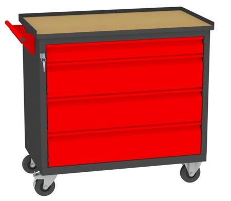 00142053 Wózek narzędziowy, 4 szuflady (wymiary: 860x950x505 mm)