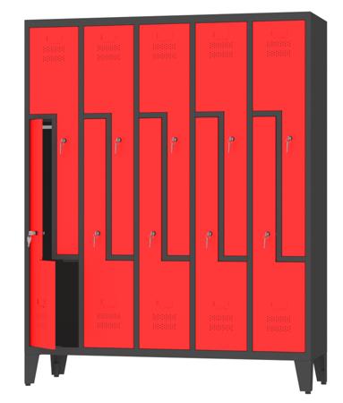 00150393 Szafa ubraniowa L na nogach, 5 segmentów, 10 drzwi (wymiary: 1860x1480x480 mm)