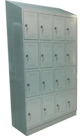 00150543 Szafa skrytkowa z daszkiem, 4 segmenty, 16 skrytek (wymiary: 2135x1190x480 mm)