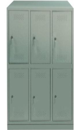 00150556 Szafa skrytkowa z daszkiem, 3 segmenty, 6 skrytek (wymiary: 2135x1050x480 mm)