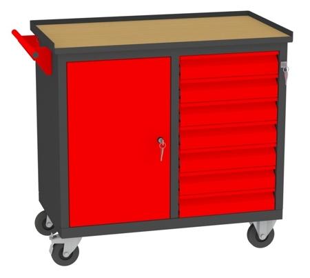 00150650 Wózek narzędziowy, 1 drzwi, 7 szuflad (wymiary: 860x950x505 mm)
