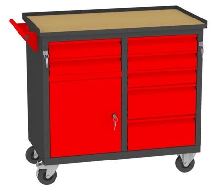 00150652 Wózek narzędziowy, 1 drzwi, 7 szuflad (wymiary: 860x950x505 mm)