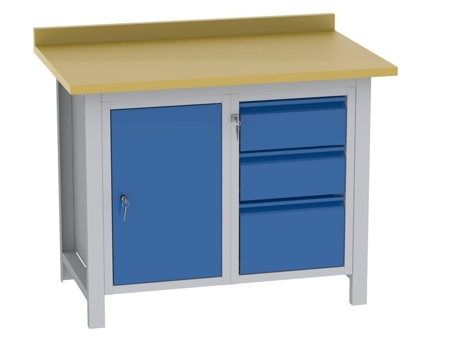 00151466 Stół warsztatowy, 1 drzwi, 3 szuflady (wymiary: 880x1140x725 mm)