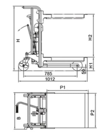 00546102 Wózek podnośnikowy z platformą (udźwig: 400 kg, min./max. wysokość platformy: 85/1500 mm)