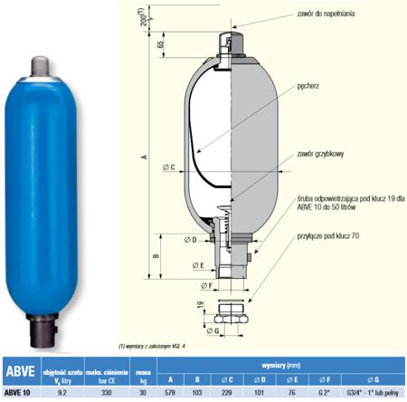 01538868 Akumulator hydrauliczny pęcherzowy Hydro Leduc ABVE 10 (objętość azotu: 9,2 l/dm³, maksymalne ciśnienie: 330 bar)