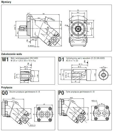 01538888 Silnik hydrauliczny tłoczkowy Hydro Leduc M18 (objętość robocza: 18 cm³, maksymalna prędkość ciągła: 8000 min-1 /obr/min)