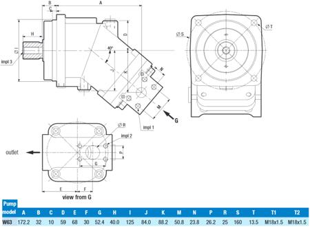 01539159 Pompa hydrauliczna tłoczkowa o stałej wydajności Hydro Leduc W63 (objętość geometryczna: 63 cm³, maksymalna prędkość obrotowa: 2000 min-1 /obr/min)