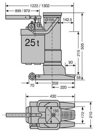 0301348 Podnośnik hydrauliczny maszynowy (udźwig: 25 T)