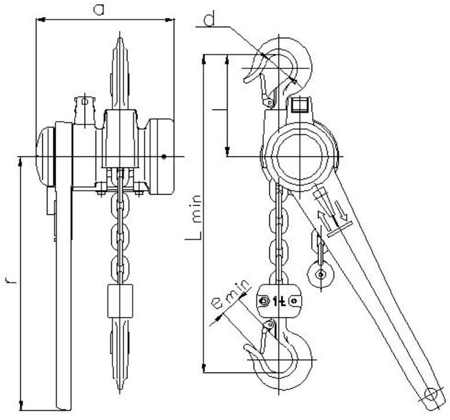 22021306 Wciągnik łańcuchowy dźwigniowy z łańcuchem ogniwowym Z310/0.5t (wysokość podnoszenia: 3m, udźwig: 0,5 T)