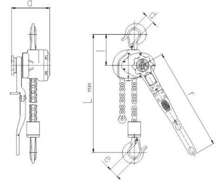 22021342 Wciągnik dźwigniowy z łańcuchem sworzniowym RZV/5.0t (wysokość podnoszenia: 3m, udźwig: 5 T)