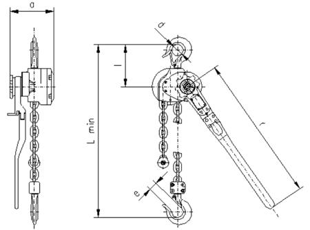 2202558 Wciągnik dźwigniowy z łańcuchem ogniwowym RZC/6.3t (wysokość podnoszenia: 2,5m, udźwig: 6,3 T)