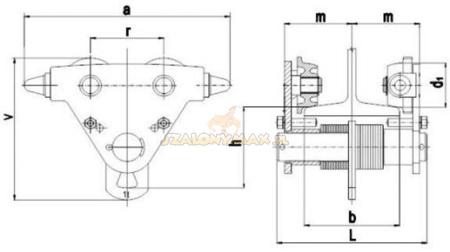 2203097 Wózek jedno-belkowy Z420R-A /1.0t (szerokość dwuteownika od: 50-113mm, udźwig: 1 T)