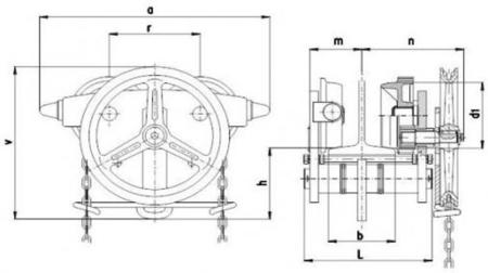 2203103 Wózek jedno-belkowy z napędem ręcznym Z420-A/5.0t/3m (wysokość podnoszenia: 3m, szerokość dwuteownika od: 113-137mm, udźwig: 5 T)