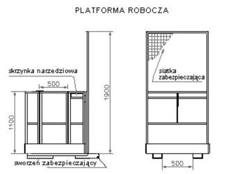 2903587 Platforma robocza PR80 dla 2 osób (wymiary: 800 x 1200 x 1800 mm)