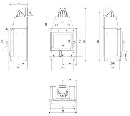 30046771 Wkład kominkowy 13kW Mbz (szyba prosta)