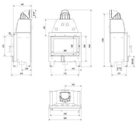 30046772 Wkład kominkowy 15kW MBO (szyba prosta)
