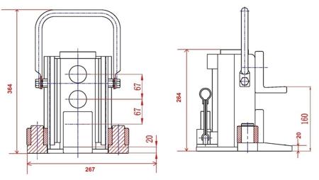 310657 Podnośnik hydrauliczny niskoprofilowy TJ80 (udźwig: 8 T, wysokość: 280 mm)