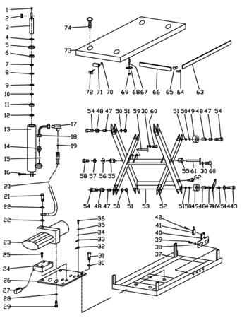 3109774 Stół podnośny elektryczny  (wymiary platformy: 1000x1600mm, udźwig: 2000 kg)