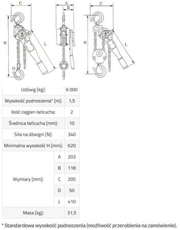 33917047 Wciągnik łańcuchowy GKS 9,0 (udźwig: 9000 kg, wysokość podnoszenia: 3 m)
