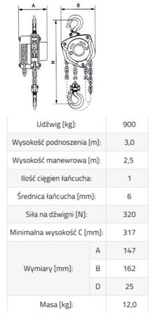 33948574 Wciągnik łańcuchowy ze stali nierdzewnej inox SBE INOX 0,9 3m (udźwig: 900 kg, wysokość podnoszenia: 3 m)