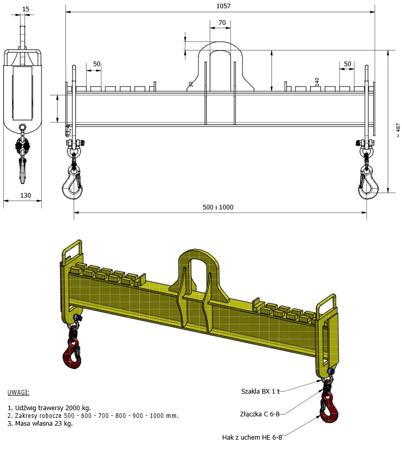 33948768 Trawers z regulowanymi hakami miproBeam TRR A-M 2,0 1000 (udźwig: 2 T, długość: 1000 mm)