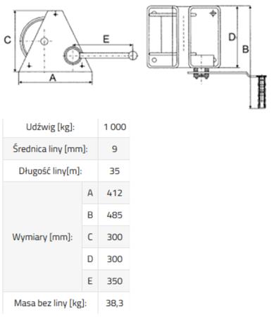 3398496 Wciągarka linowa ERA 1 (bez liny, udźwig: 1000 kg)