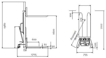 44340164 Wózek paletowy podnośnikowy Unicraft GHHW 1000 (udźwig: 1000 kg)