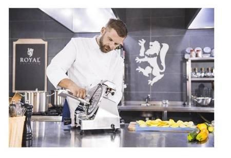 45643461 Krajalnica elektryczna do wędlin, mięsa i serów Royal Catering RCAM 220PRO (moc: 120W, średnica noża: 220mm, grubość cięcia: 0-12mm)