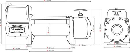 55946640 Wyciągarka samochodowa Dragon Winch Truck DWT 14000 HD 12V - wersja ze sterowaniem na silniku, z liną stalową 20m, hamulec dynamiczny (udźwig: 14000 lb/ 6350 kg, silnik: 7,8KM)
