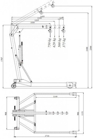 6177827 Żuraw hydrauliczny ręczny, paletowy (udźwig: od 375 do 750kg)