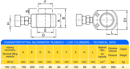 62754001 Siłownik płaski (wysokość podnoszenia min/max: 150-300mm, udźwig: 10T)