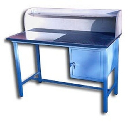 77156890 Stół warsztatowy z nadbudową, 1 szafka (wymiary: 1250x600x820 mm)