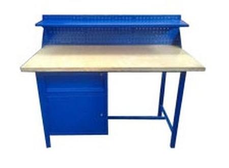 77156922 Stół warsztatowy z nadbudową, 1 szuflada, 1 szafka (wymiary: 1500x750x900 mm)
