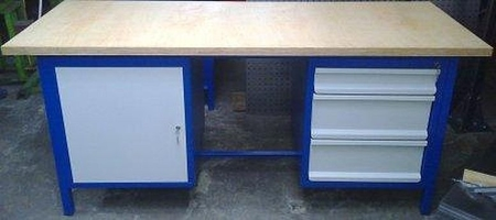 77156956 Stół warsztatowy, 1 szafka, 3 szuflady (wymiary: 2000x750x900 mm)