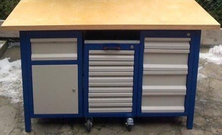 77156971 Stół warsztatowy, 5 szuflad, 1 szafka + wózek z 6 szufladami (wymiary: 1500x750x850 mm)
