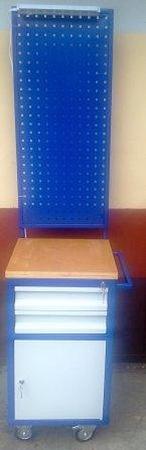 77157351 Wózek narzędziowy z tablicą i oświetleniem, 2 szuflady, 1 szafka (wymiary: 450x500x900/1800 mm)