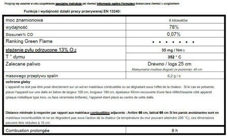 86854958 Piec wolnostojący Invicta 8kW Aratos (górna średnica wylotu spalin: 150mm, kolor: antracyt)