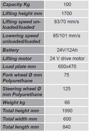 99724814 Wózek podnośnikowy z podestem elektryczny GermanTech E 100A (max wysokość: 1700 mm, udźwig: 100 kg)