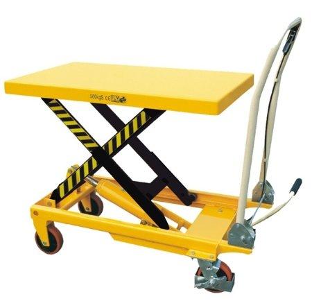 DOSTAWA GRATIS!!! 00546098 Wózek paletowy stołowy (udźwig: 500 kg, min./max. wysokość podestu: 285/880 mm, wymiary platformy: 850x500 mm)