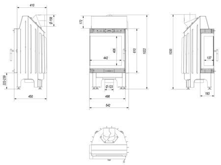 DOSTAWA GRATIS! 30040873 Wkład kominkowy 8kW Blanka BS (lewa boczna szyba bez szprosa)