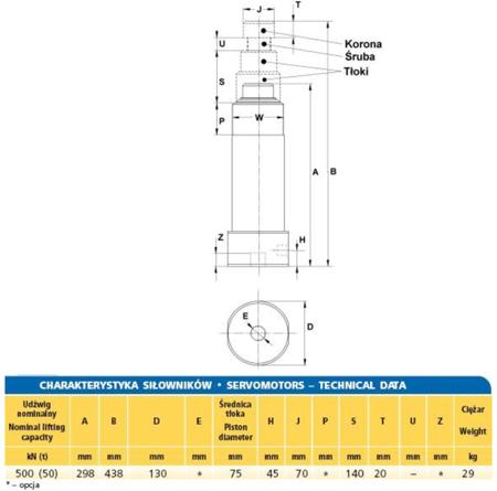 DOSTAWA GRATIS! 62725763 Siłownik hydrauliczny (wysokość podnoszenia min/max: 298/438mm, udźwig: 50T)