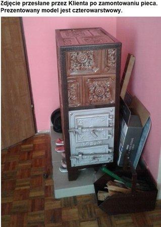 DOSTAWA GRATIS! 92238181 Piec grzewczy kaflowy 7,8kW Retro trzywarstwowy na drewno i węgiel (kolor: beż)