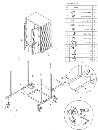 DOSTAWA GRATIS! 99724947 Wózek. szafka stalowa narzędziowa GermanTech Workshop trolley (wymiary: 1800x600x400 mm)